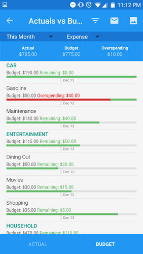 Capturas de pantalla del programa Toshl finance - Personal budget & Expense tracker para teléfono o tableta Android.