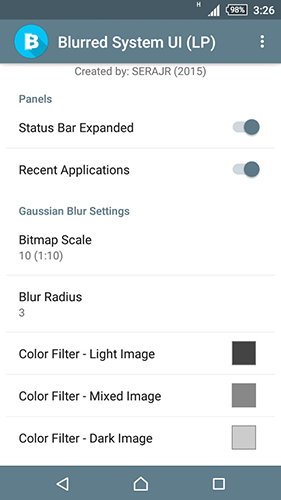Screenshots of Blurred system UI program for Android phone or tablet.
