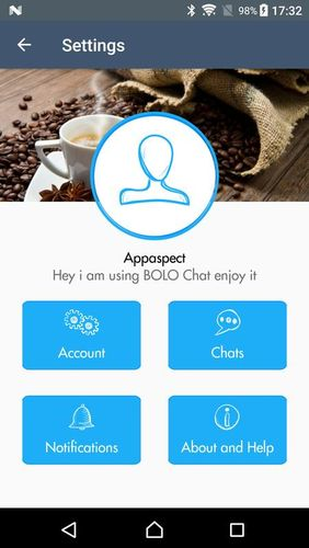 Screenshots of Bolo chat program for Android phone or tablet.