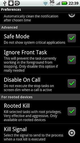 Screenshots of Advanced Task Manager program for Android phone or tablet.