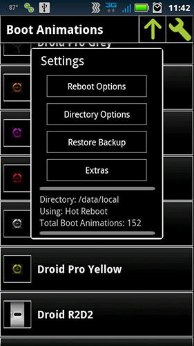 Screenshots of Boot animation manager program for Android phone or tablet.
