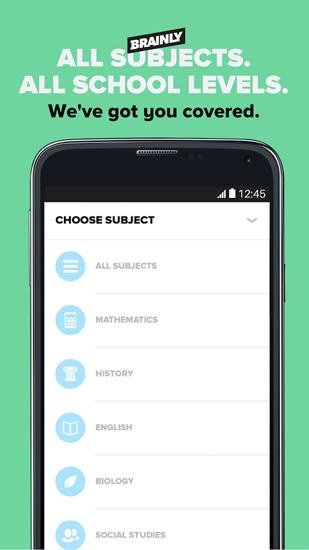 Screenshots of Brainly: Study program for Android phone or tablet.
