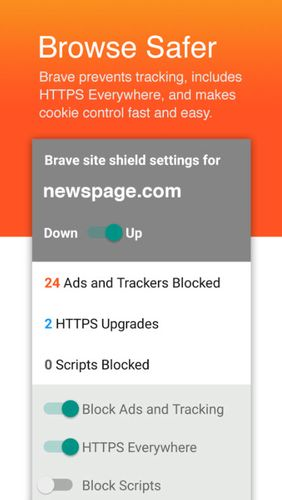 Brave browser: Fast AdBlocker app for Android, download programs for phones and tablets for free.