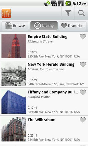 Les captures d'écran du programme Buildings pour le portable ou la tablette Android.