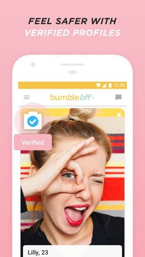 Capturas de tela do programa Bumble - Date, meet friends, network em celular ou tablete Android.