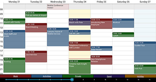 Les captures d'écran du programme Business calendar pour le portable ou la tablette Android.