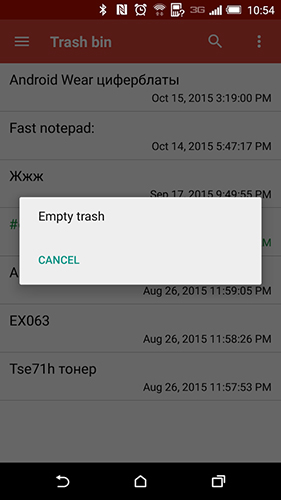 Screenshots of Fast notepad program for Android phone or tablet.