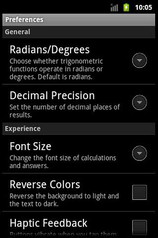 Screenshots of Calc etc program for Android phone or tablet.