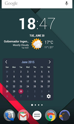 Screenshots of Calendar widget program for Android phone or tablet.