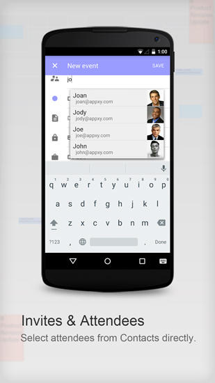 Screenshots of Tiny Calendar program for Android phone or tablet.