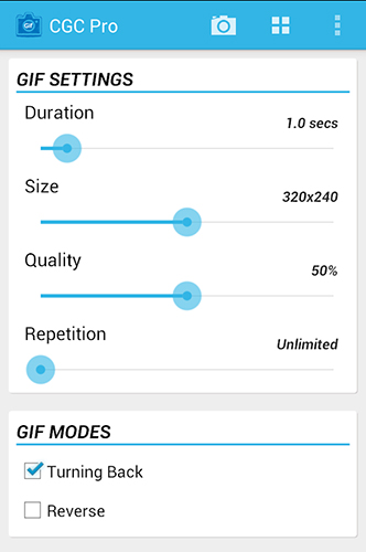 Screenshots of Camera Gif creator program for Android phone or tablet.