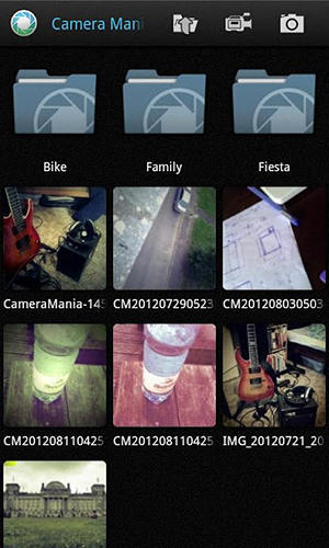 Capturas de tela do programa Camera mania em celular ou tablete Android.