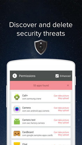 Screenshots des Programms Camera Guard: Blocker für Android-Smartphones oder Tablets.