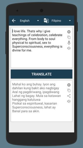 Screenshots of Camera translator program for Android phone or tablet.