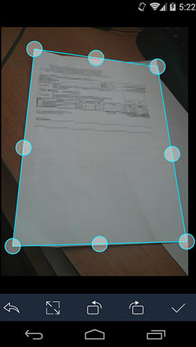 Screenshots of Cam scanner program for Android phone or tablet.