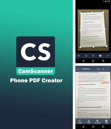 Besides Fizy Android program you can download CamScanner for Android phone or tablet for free.