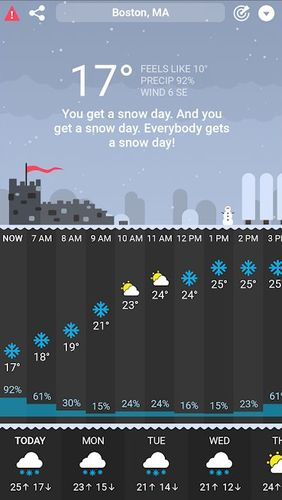 Capturas de pantalla del programa CARROT Weather para teléfono o tableta Android.