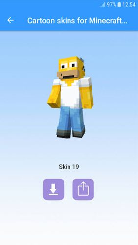 Cartoon skins for Minecraft MCPE app for Android, download programs for phones and tablets for free.