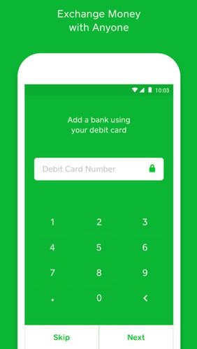 Screenshots of Cash app program for Android phone or tablet.