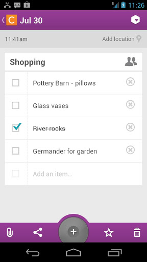 Screenshots of Catch notes program for Android phone or tablet.
