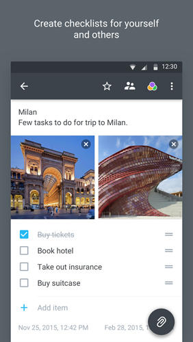 Les captures d'écran du programme Centrallo: Notes Lists Share pour le portable ou la tablette Android.