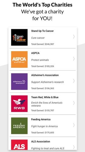 Screenshots des Programms Charity Miles: Walking & running distance tracker für Android-Smartphones oder Tablets.