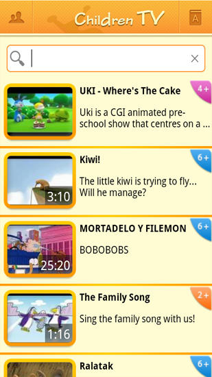 Children TV app for Android, download programs for phones and tablets for free.
