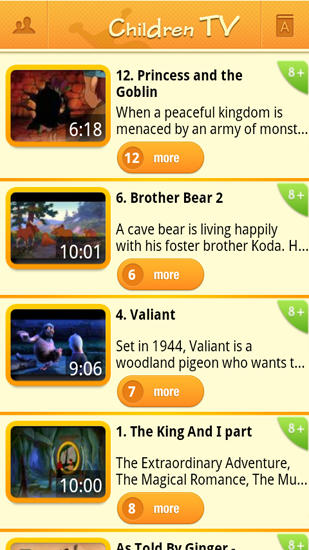 Screenshots of Children TV program for Android phone or tablet.