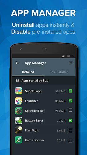 Screenshots des Programms Cleaner: Master speed booster für Android-Smartphones oder Tablets.