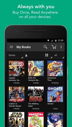 Screenshots of ComiXology program for Android phone or tablet.
