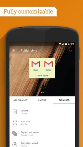 Screenshots of Contextual app folder program for Android phone or tablet.