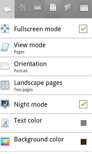 Screenshots of Cool reader program for Android phone or tablet.