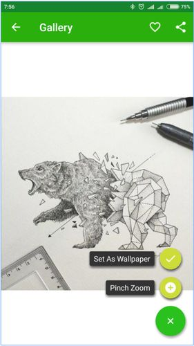 Les captures d'écran du programme Cool art drawing ideas pour le portable ou la tablette Android.