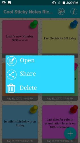 Screenshots des Programms Cool sticky notes für Android-Smartphones oder Tablets.