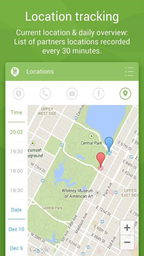 Screenshots des Programms Couple Tracker: Phone Monitor für Android-Smartphones oder Tablets.