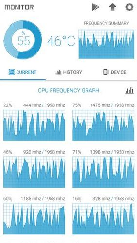 Screenshots des Programms CPU monitor - Temperature, usage, performance für Android-Smartphones oder Tablets.
