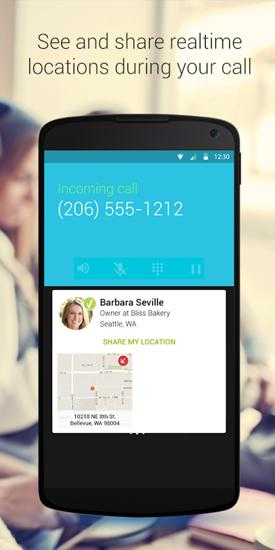 Capturas de tela do programa Whitepages Caller ID em celular ou tablete Android.