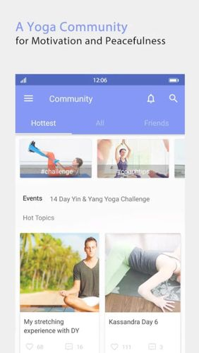 Capturas de tela do programa Daily yoga em celular ou tablete Android.