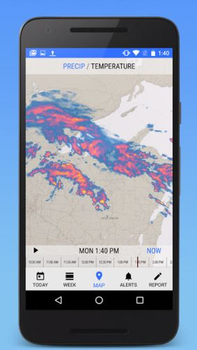 Capturas de pantalla del programa iPhone weather para teléfono o tableta Android.