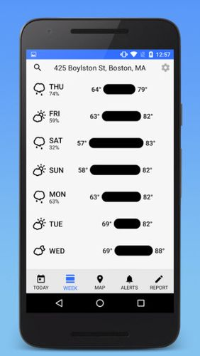 Screenshots des Programms Dark Sky - Hyperlocal Weather für Android-Smartphones oder Tablets.