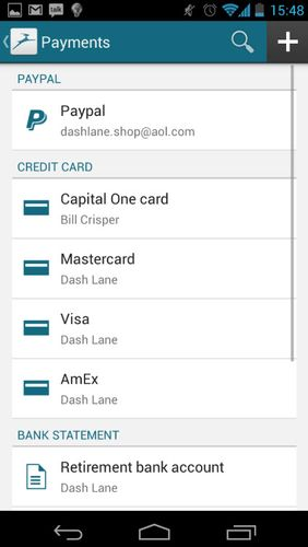 Screenshots des Programms Dashlane password manager für Android-Smartphones oder Tablets.