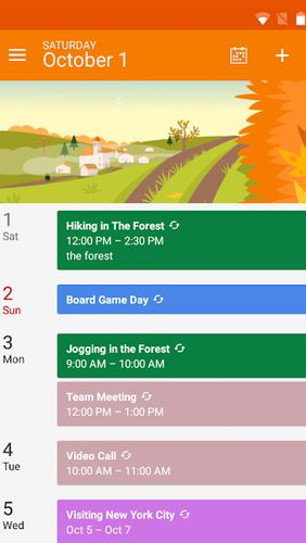 Screenshots of DigiCal calendar agenda program for Android phone or tablet.
