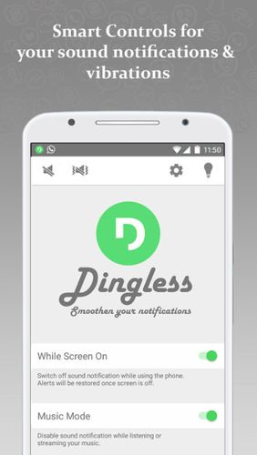 Baixar grátis Dingless - Notification sounds para Android. Programas para celulares e tablets.