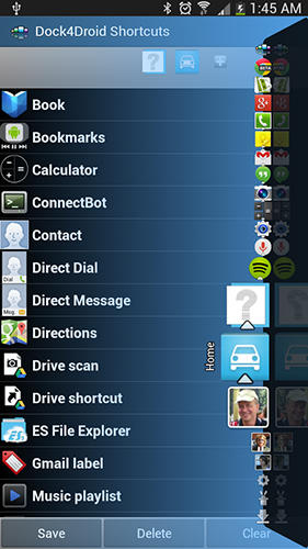 Capturas de tela do programa Dock 4 droid em celular ou tablete Android.
