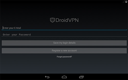 Capturas de tela do programa Droid VPN em celular ou tablete Android.