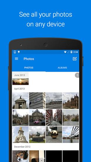 Screenshots of Dropbox program for Android phone or tablet.