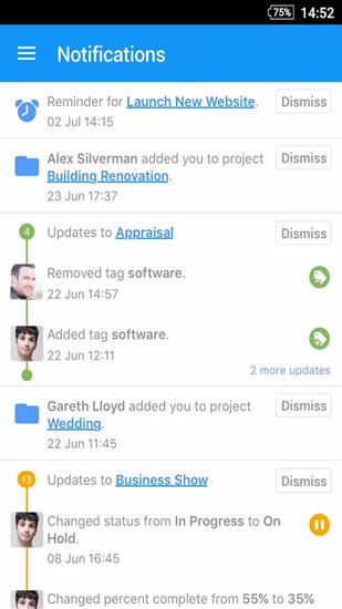 Screenshots des Programms DropTask: Visual To Do List für Android-Smartphones oder Tablets.