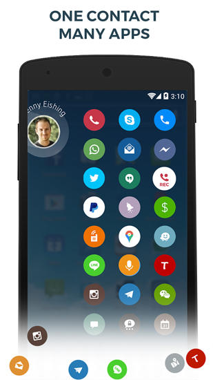 Screenshots of Drupe: Contacts and Phone Dialer program for Android phone or tablet.