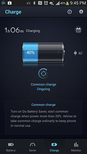 Screenshots of DU battery saver program for Android phone or tablet.