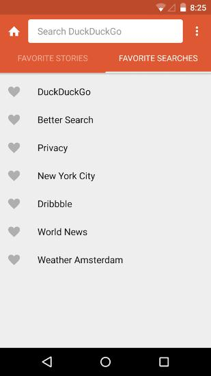 Les captures d'écran du programme DuckDuckGo Search pour le portable ou la tablette Android.